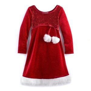 Bonnie Jean Red Velvet Santa Christmas Dress Sz 4